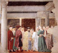 Piero della Francesca. 2b. Meeting between the Queen of Sheba and King Solomon (1458-66). Fresco. San Francesco, Arezzo