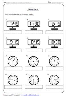 Printable time worksheets