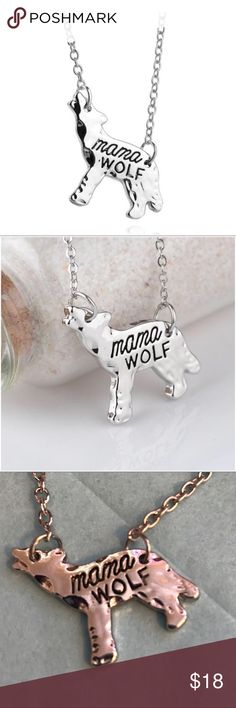 ✅ OFFER $13 MAMA WOLF Silver tone necklace w wolf. Enlarged to show detail. 19 in chain SAME/NEXT DAY SHIPPING SMOKE FREE PET FRIENDLY BOUTIQUE ITEMS MAY NOT HAVE TAGS NO TRADES NO MODELING REALISTIC OFFERS WELCOME Jewelry Necklaces