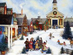 american art painting caroling in the village