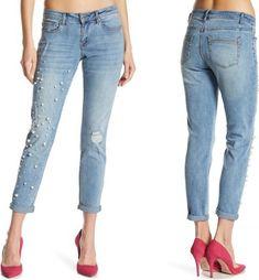 fbeb88f2f35 Nanette Lepore Caitlyn Girlfriend Jean SZ 2 Pearl Embellished Women s NWT   89  fashion  clothing