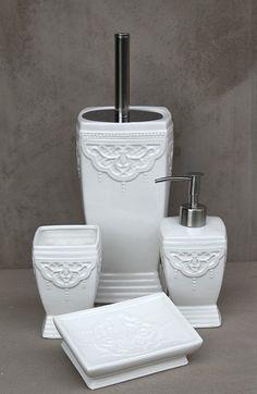 WC Bürste Garnitur Seifenschale Seifenspender Badbecher Vintage Landhaus shabby