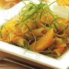 Penne rigati with sesame and orange dressing