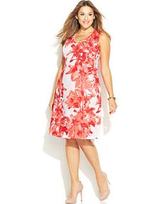 INC International Concepts Plus Size Sleeveless Printed A-Line Dress