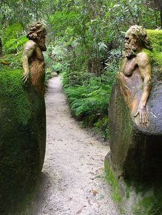 This sculptor spent his life working on transforming a old-growth eucalyptus forest into a unique place of spiritual renewal and quiet reflection. He deeply felt the connection between the human and the natural world, merging them in form.    Guardians at the Gateway, William Ricketts Sanctuary, Melbourne, Australia