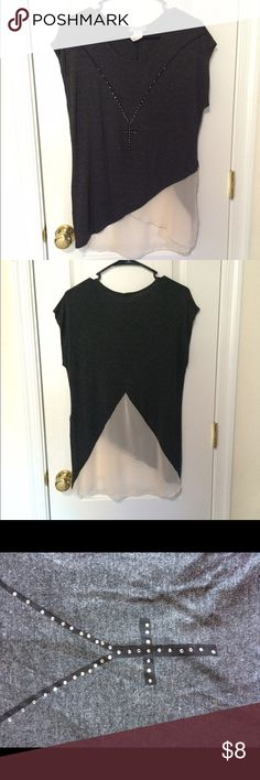 short sleeve grey shirt mixture of t-shirt & sheer material, grey and light pink. has a cross made of little studs going around the neck, super cute with leggings! Tops Blouses