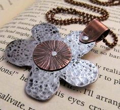 Mixed Metal Flower Necklace - Hand Stamped Jewelry - Metalwork Necklace with Mixed Metals and Cold Connections Stamped Metal Necklace (104)