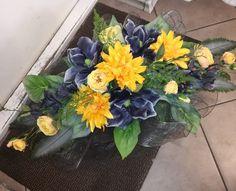 Funeral Floral Arrangements, Fall Arrangements, Grave Flowers, Cemetery Flowers, Gerbera, Casket, Memorial Day, Plants, Plant