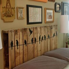 Anchor a pallet to the wall behind your bed, then spruce it up with your favorite wall decals for a charming headboard. Get the tutorial at Cathey with an E.