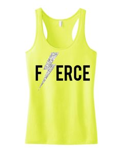FIERCE #Workout #Tank with Glitter Lightning Bolt Print -- By #NobullWomanApparel, for only $24.99! Click here to buy http://nobullwoman-apparel.com/collections/fitness-tanks-workout-shirts/products/fierce-glitter-lightning-workout-tank-top-workout