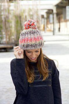 Nueva moda Color Mix bola de la piel de mujer gorro de lana de ... 7022814ad795
