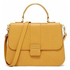 Mahon Protagonista Golden Yellow Satchel Bag (59,460 MXN) ❤ liked on Polyvore featuring bags, handbags, purses, bolsas, accessories, golden yellow, leather purses, yellow leather purse, satchel handbags and man satchel bag