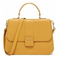 Mahon Protagonista Golden Yellow Satchel Bag ($3,112) ❤ liked on Polyvore featuring bags, handbags, purses, bolsas, sac, golden yellow, leather handbag purse, satchel purse, leather man bag and genuine leather purse