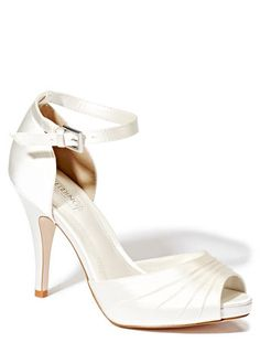 Ivory Wedding Collection Satin Ruched Detail Platform Shoes British home stores Ivory Wedding, Wedding Bride, Wedding Ideas, Bride Shoes, Wedding Shoes, Platform Shoes, High Heels, Women Wear, Satin