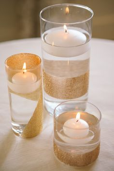 Glitter Gold Floating Candles | Wedding Decor