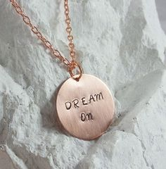 Hand Stamped Brushed Copper Necklace - Dream On #Handmade #Statement