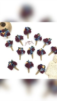 Navy And Burgundy Wedding, Burgundy Wedding Flowers, Fall Wedding Bouquets, Prom Corsage And Boutonniere, Boutonnieres, Wedding Wristlets, Prom Photos, Stud Earrings, Style