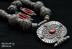 Tibetan beaded necklace Polymer clay by HandmadeByAleksanta