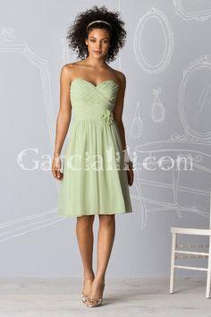 A-line Sweetheart Bodice Tea-length Chiffon Bridesmaid Dress - Garcialili.com