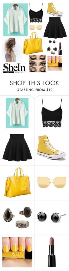 """Photoshoot"" by kwkalyn ❤ liked on Polyvore featuring WithChic, Topshop, Converse, Linda Farrow, MANGO and Giorgio Armani"