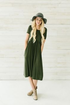 Pom Empire Pocket Midi Dress- Olive