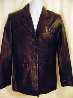 Womens Size 8 Tommy Hilfiger Brown Vegan Leather Tapered Lined Jacket Blazer 34