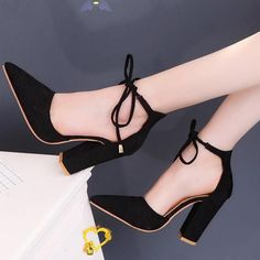 <br> Chunky Heel Pumps, Strappy High Heels, Pointed Toe Heels, Thick Heels, Lace Up Sandals, Ankle Strap Heels, High Heel Pumps, Women's Pumps, Sandals Outfit