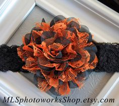 Lacy Black & Orange Vintage Style Halloween Rose Headband  - Halloween Colored Flower Hair Bow for Babies, Toddlers, and Little Girls