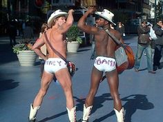 The Naked Cowboys in #NYC Times Square on #Election2012. Day!!!