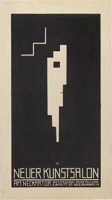1913, Oskar Schlemmer: Poster for the Neuer Kunstsalon, Stuttgart (Plakat, Neuer Kunstsalon, Stuttgart). Lithograph 57.8x32.5 cm. Graphische Sammlung-Stuttgart. Gift of The Lauder Foundation, Leonard and Evelyn Lauder Fund.