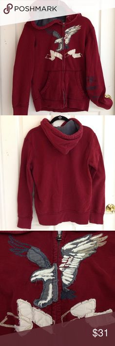 American Eagle Hoodie with Zipper American Eagle hoodie with zipper. Like brand new! Worn once! Eagle design has distressed look. Vintage fit. 80% cotton 20% polyester American Eagle Outfitters Shirts Sweatshirts & Hoodies