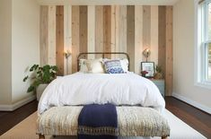 16 Ways to Turn Your Bedroom Into a Cozy Haven | Hometalk Slat Wall, Wood Wall, Installing Wainscoting, Chalk Paint Chairs, Building Shelves, Floral Dress Design, Bleu Pastel, Old Lamps, Stylish Bedroom
