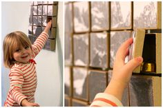 """Great idea for Advent Calendar... DIY TUTORIAL photo puzzle on boxes.  Large """"Engineering Print"""" of Christmas scene, or family, from copy store for approx $2.  (*** I would mount the boxes on foam core or luanne (thin wood) for easy hanging year after year)"""