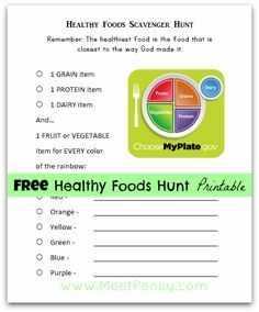 FREE healthy food scavenger hunt printable - Go to the grocery store or go through your own kitchen. www.MeetPenny.com