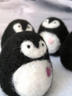 Needle Felted Penguin with Heart Stocking Stuffer via Etsy.