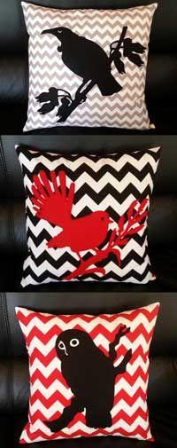 Tui,fantail and morepork Sewing Pillows, Diy Pillows, Bird Template, Handmade Cushion Covers, Maori Designs, Bird Applique, Nz Art, Patchwork Cushion, Kiwiana