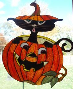 Stained glass cat and pumpking by mel3333omland
