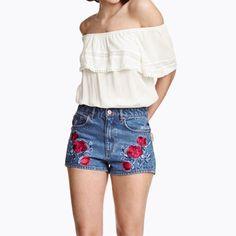 Blue Distressed Color Block Short Jeans Flower Embroidery Pockets Denim Short Pants Casual Slim Shorts