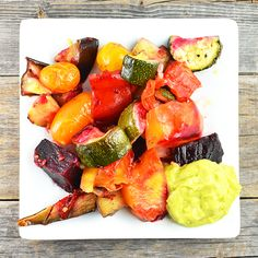 My Roasted Vegetables With Tangy Avocado Dressing is a delicious and healthy side dish or meal. It pairs perfectly with crumbled feta or goat cheese and even tastes great over a bed of quinoa.