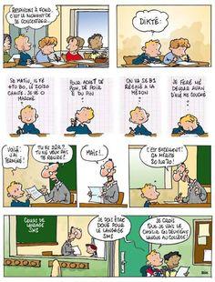 Dessin BD humour Cours de langage SMS à l'école, dictée - Dessinateur Deligne