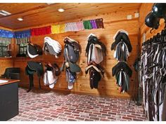 Simple kind of tack room... I feel like the space could be utilized a little better tho, but it is cute for a smaller barn.