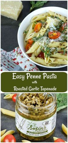 Looking for a quick dinner tonight? This Easy Penne Pasta with Roasted Garlic Tapenade can be ready in under 30 minutes.| homemadeandyummy.com #sponsored #easy #pasta