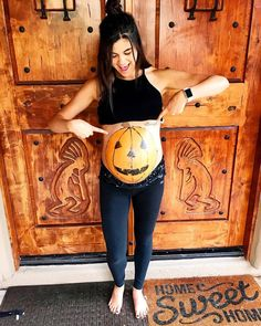 My Due Date, Pregnant Belly Painting, Pregnant Baby, Pregnant Halloween, Instagram 9, Painted Pumpkins, 9th Month, A Pumpkin, Pregnancy Photos