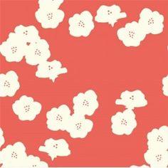 Tissu Jersey Poppies Coral x 10 cm