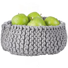 a simple knitted basket looks so clean and contemporary