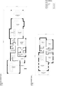 Corsica Home Design Narrow House Designs, Narrow House Plans, China Architecture, Architecture Plan, Courtyard House, Facade House, Bungalow House Plans, House Floor Plans, Small Modern Home