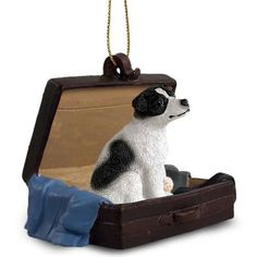 Jack Russell Terrier Black White Carrycase Tag Ornament//you can't forget to pack the jack!