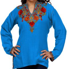V-Neck Ladies Tunic with Rose Embroidery in Various Colors (Customizable)