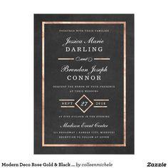 Modern Deco Rose Gold & Black Wedding Invitation