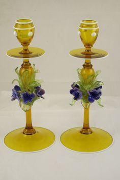 Rare Pair Murano Venetian Hand Blown Art Glass Candlestick Holders Flowers Gold